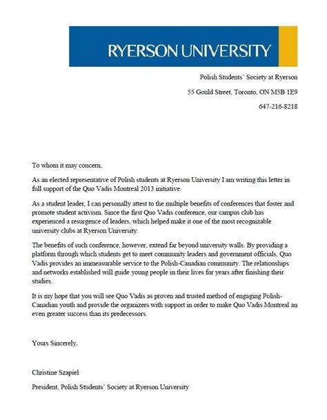 Ryerson Acceptance Letter About Quo Vadis Montreal