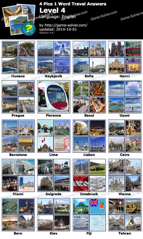 4 In 1 Travel 4 pics 1 word travel level 4 solver