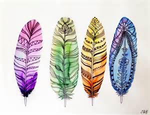 colorful drawings colorful feathers by misscake on deviantart