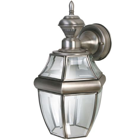 Outdoor Porch Light Fixtures Shop Secure Home Hanging Carriage 14 5 In H Antique Silver Motion Activated Outdoor Wall Light