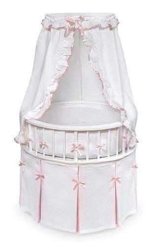 baby bassinet for bed white wood round baby girl bassinet crib bed pink trim ebay