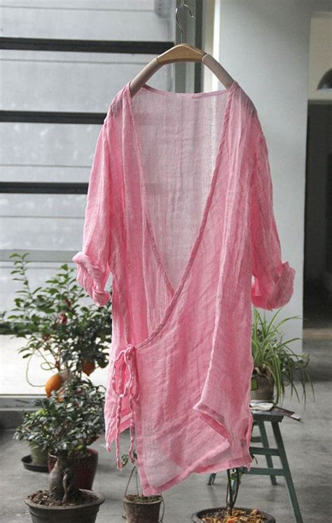 Sy Vita Kimono summer cardigan 3 colors white green pink top linen by