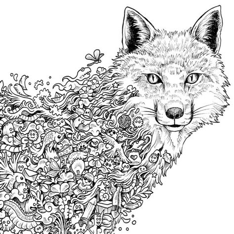 Fox Coloring Page Mature Colors Coloring Pages Detailed