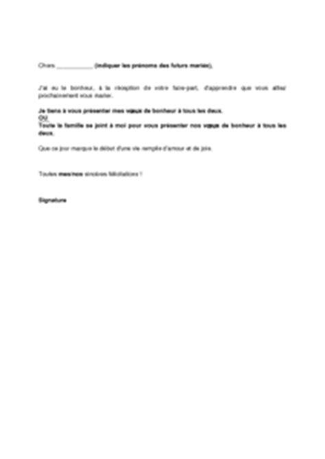 Exemple De Lettre Felicitation Mariage Modele De Lettre Pour Le Mariage