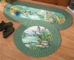 mallard ducks braided accent rug