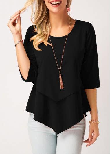 New Moline Blouse Black black neck asymmetric hem layered blouse rosewe usd 28 21