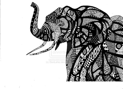 black and white elephant pattern african elephant in traditional african patterns by