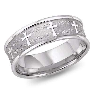 white gold laser engraved christian cross wedding band