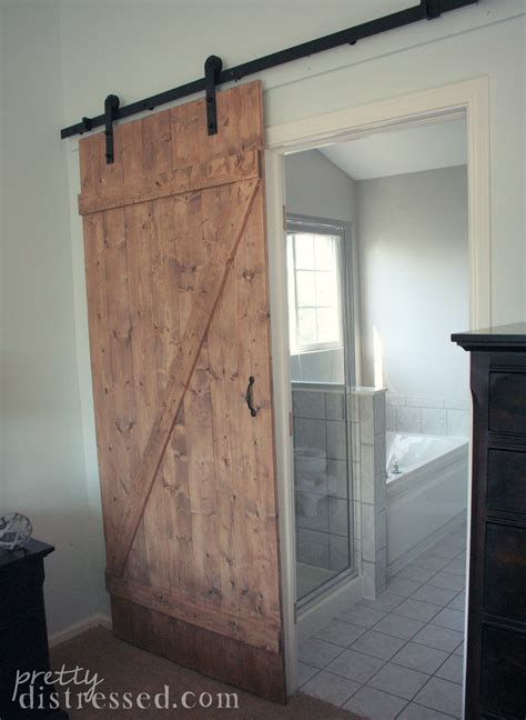 Building A Sliding Barn Door Pretty Distressed Diy Distressed Sliding Barn Door