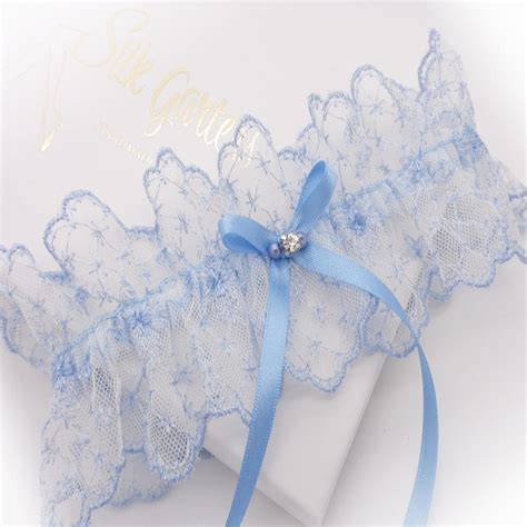 bridal wedding garters brides blue lace garter with one size something blue
