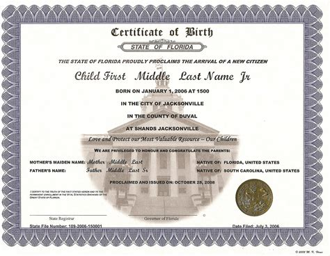 Record Of Birth Commemorative Certificates Florida Department Of Health