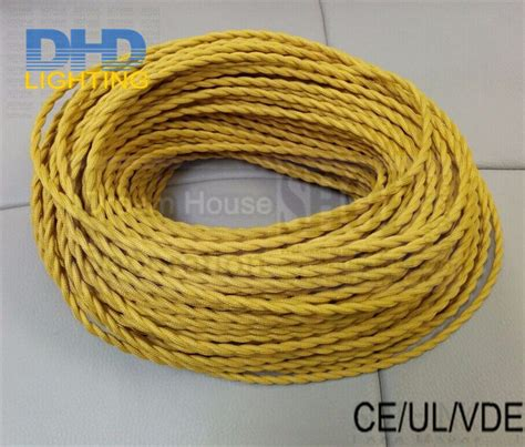 brown yellow blue wires free shipping 50meters 2 coresx0 75mm blue brown textile