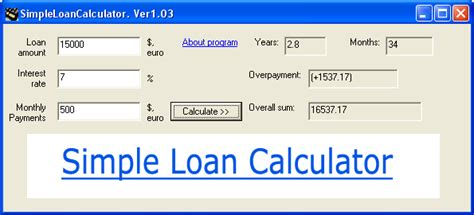 simple loan calculator 1 03 by loan calculators sw any