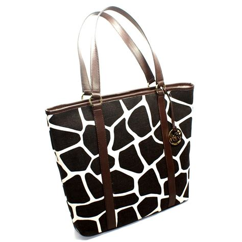 Catherine Rapettis Large Printed Tote In Girrafe michael kors summer large giraffe print canvas tote