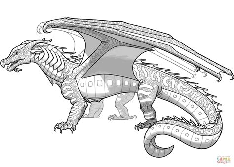 seawings dragon from wings of fire coloring page free