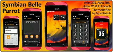 themes in nokia asha 305 symbian belle parrot theme for nokia asha 305 306 and 311