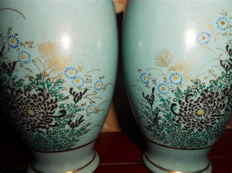 Duck Egg Blue Vase by Pair Of Japanese Satsuma Duck Egg Blue Vases Signed