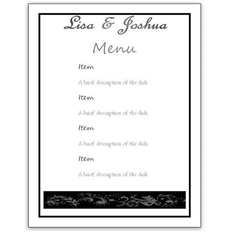 free menu card template a free wedding menu card template diy and save