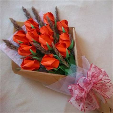 Origami Bouquet Of Roses - origami bouquet with dried flower orange paper gift