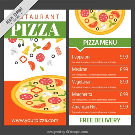 pizza menu template vector free