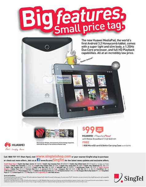 mobile broadband for tablets huawei mediapad android 3g 187 singtel mobile phones