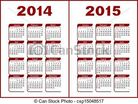 Calendario Ist 2015 Vektor Clip Kalender 2014 2015 Rotes Schwarz
