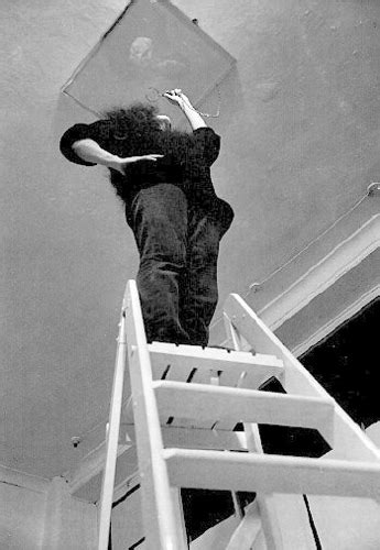 ceiling painting 1966 by yoko ono climb up a ladder