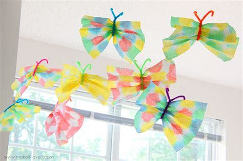 Butterflies With Paper - paper towel butterflies allfreeholidaycrafts