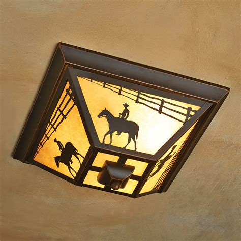 Western Ceiling Light Cowboy Rider Flush Mount Ceiling Light