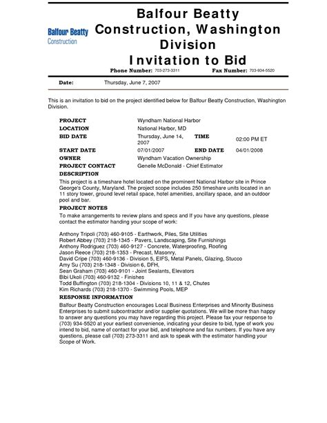 10 best images of construction invitation to bid template