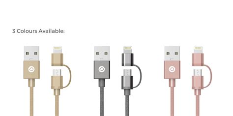 Power Trend 2 In 1 Lightning To Micro Usb Cables Gold lightning to micro usb cables