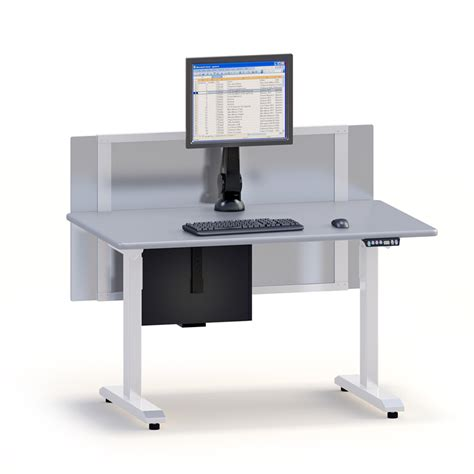 Computer Desk Height Ergonomic Height Adjustable Computer Desk With Partition Afcindustries