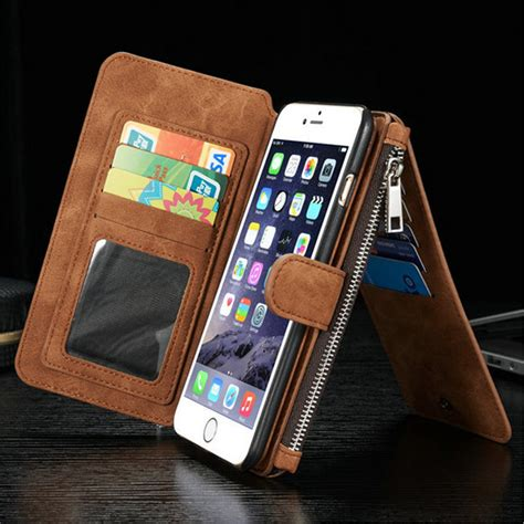 luxury genuine leather wallet multi function cover for iphone 6 6s plus