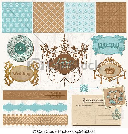 Wedding Album Design Elements by Eps Vector Of Scrapbook Design Elements Vintage Wedding