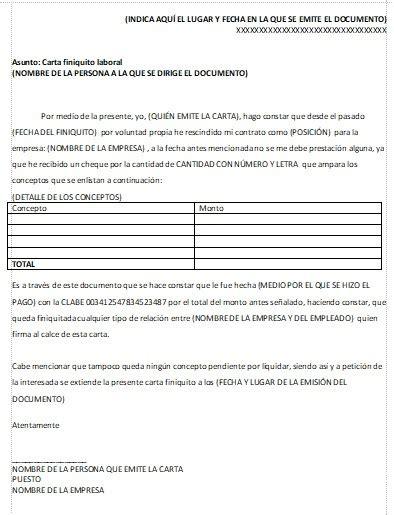 finiquito por pension de invalidez para un trabajador con carta finiquito gt formatos y ejemplos milformatos com