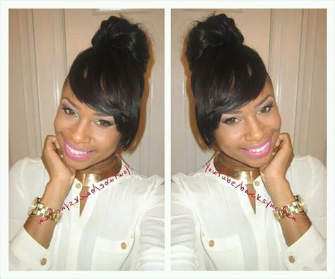 pic of black side swept bangs and bun hairstyle easy side bangs bun no glue no sew tutorial youtube