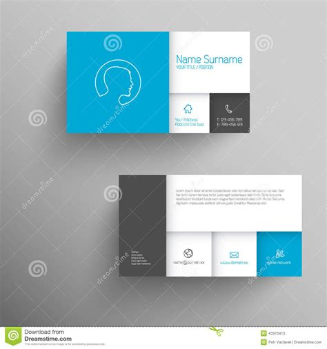 blue business card template modern blue business card template stock illustration