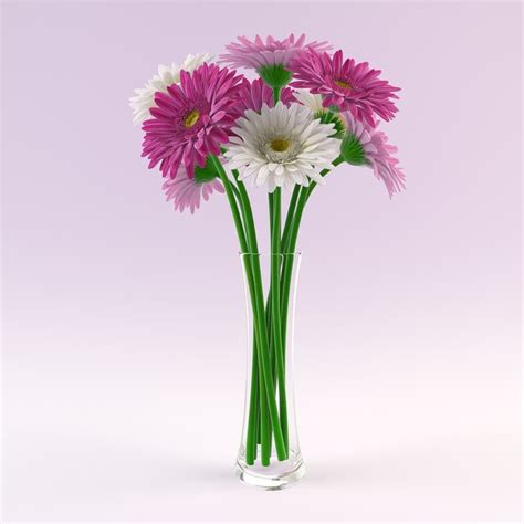 3d Flower Vase by 3d Vase Gerbera Flowers