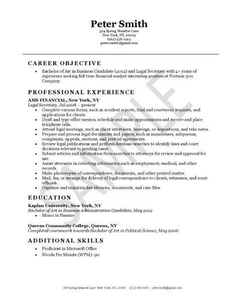 Resume Objective Sles Attorney Assistant description resume recentresumes