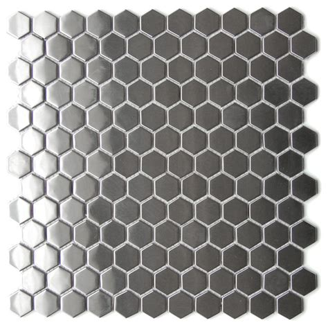 Honeycomb Mosaic Floor Tiles by Mosaic Tile Honeycomb Hexagon Mosaic Stainless Steel