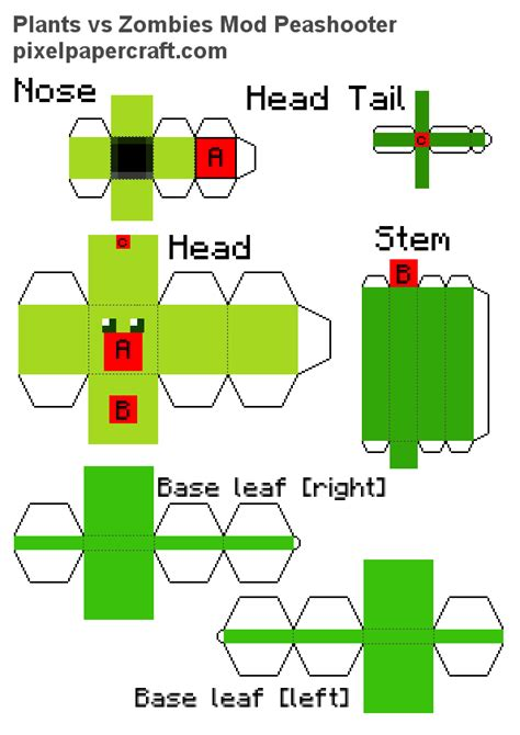 Plants Vs Zombies Paper Crafts - papercraft peashooter plants vs zombies mod