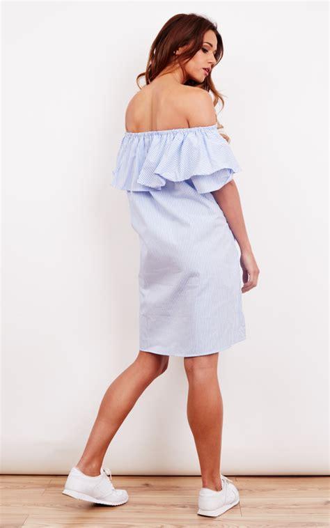 Bird Frill Striped Top Size S blue stripe frill cold shoulder summer dress silkfred