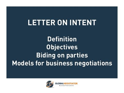 Letter Of Intent For Business Presentation Letter Of Intent Models For Business Negotiations