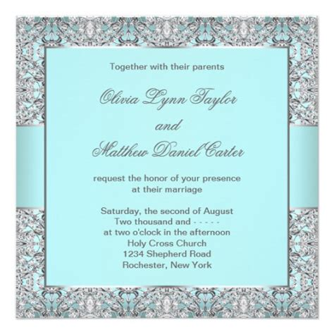 teal blue silver wedding 5 25x5 25 square paper invitation