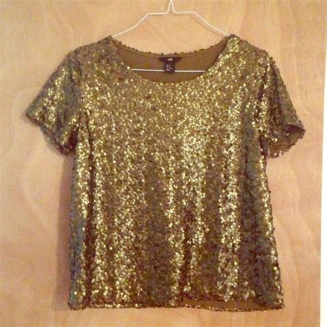 beaded and sequined tops 33 h m tops h m gold bronze sequin sequined top