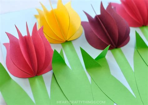 Paper Tulips - gorgeous 3d paper tulip flower craft i crafty things