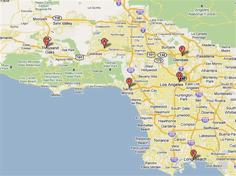 map of and surrounding areas los angeles map and surrounding areas