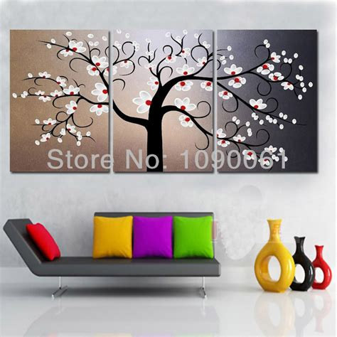 aliexpress com buy unframed 3 sets abstract tree modern canvas wall art home wall decor hd hand painted 2pcs modern flowers canvas art oil painting