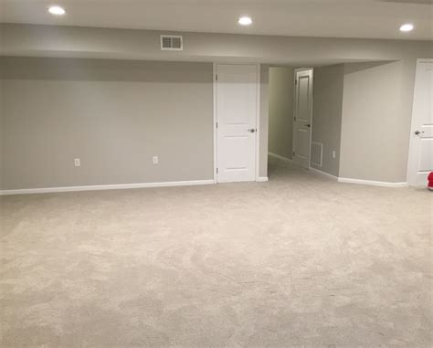 finished basement remodel project walls painted