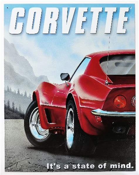 chevy corvette its a state of mind tin metal sign